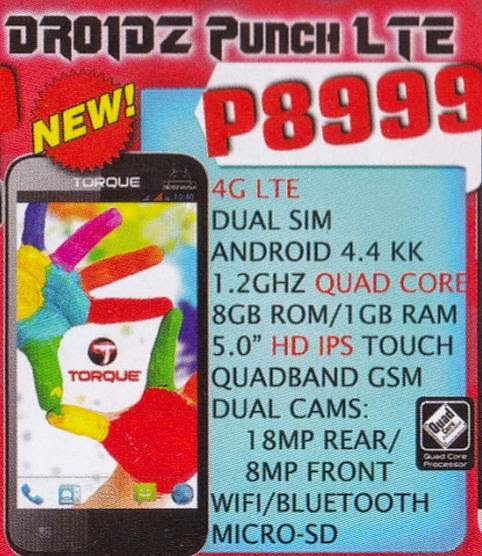 Torque Mobile Droidz Punch LTE Coming Soon For Php8,999
