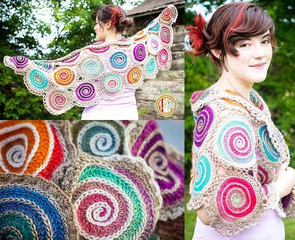 chal tejido con motivos circulares con espirales multicolor, con unos grannys de este tipo y tejiéndolos uno a uno podemos conseguir este chal