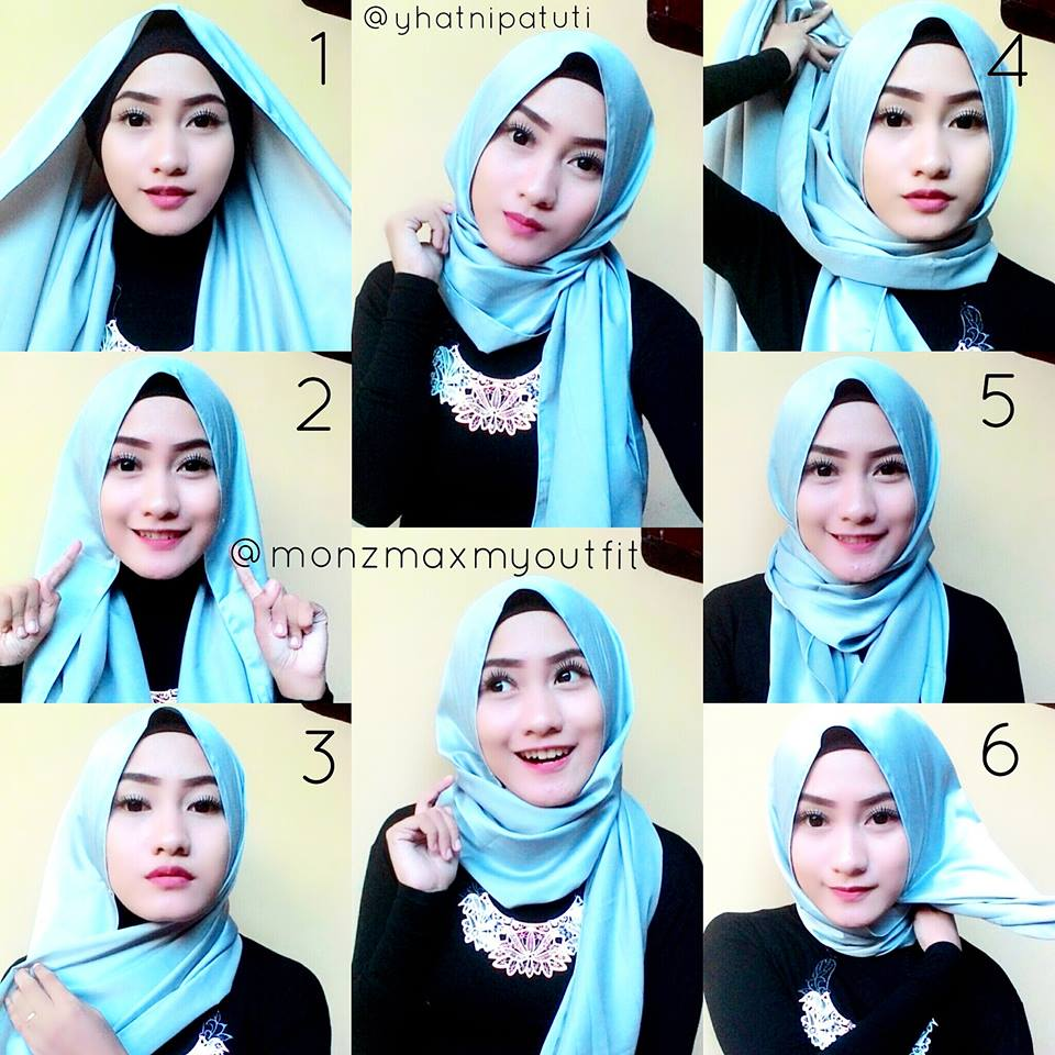 Tutorial Hijab Pashmina Denim Simple