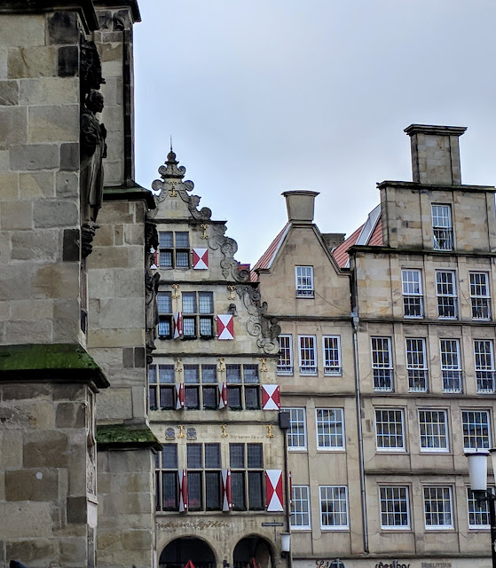 Dutch-style step-gabled buildings in Muenster Germany