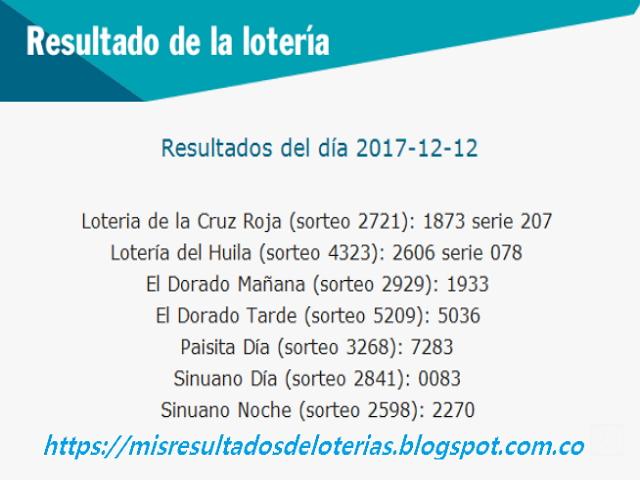 Como jugo la lotería anoche | Resultados diarios de la lotería y el chance | resultados del dia 12-12-2017