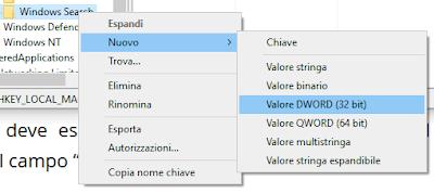 Valore DWORD (32 bit)
