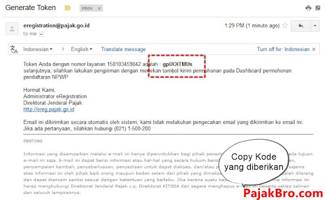 Email Minta Token NPWP Online