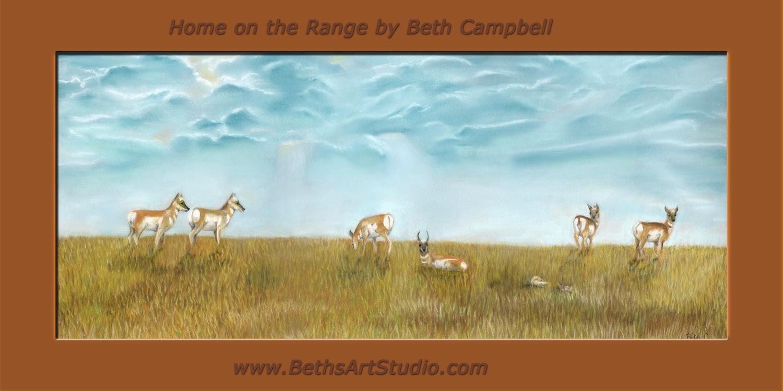 antelope pastel sanded paper Beth Campbell prairies wildlife painting