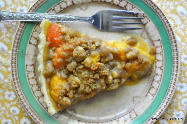 Peach and Apricot Crumble Pie