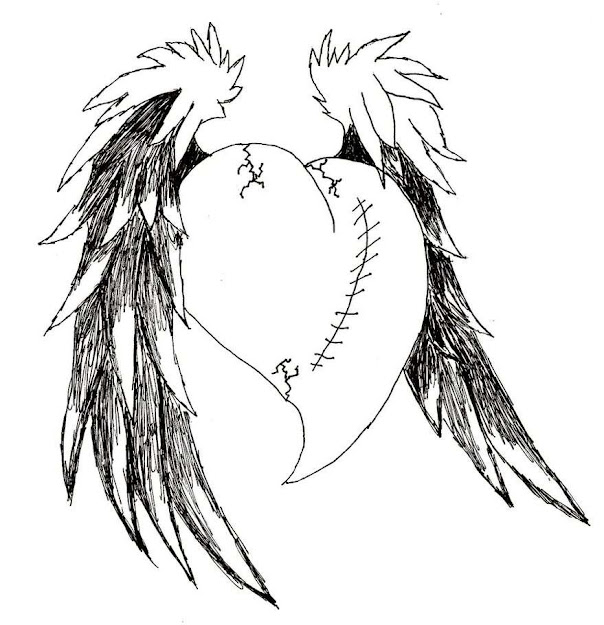 Emo Drawings Of Broken Hearts Heart With Wings Drawings Emo Anime Coloring  Pages