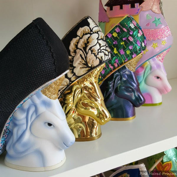 diagonal unicorn heels sitting on shelf from old to new