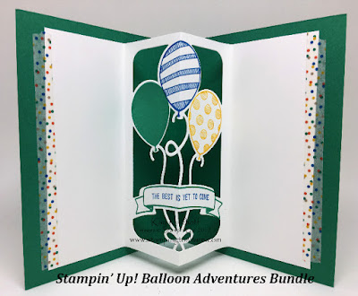 The inside panel of a birthday card with the Balloon Adventure Bundle created by Kay Kalthoff, Stamping to Share.
