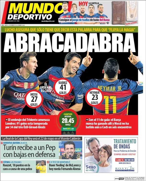 Portada del periódico Mundo Deportivo, martes 23 de febrero de 2016