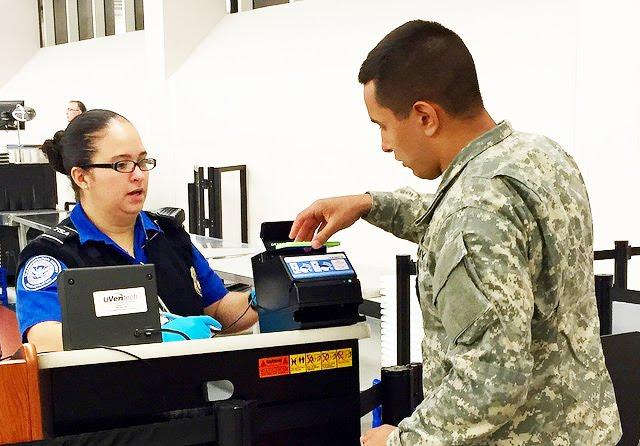 Military person uses TSA Precheck