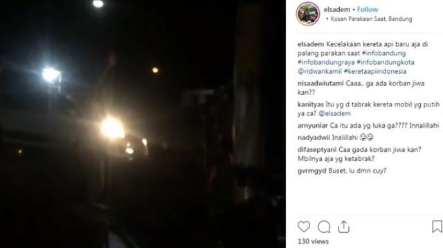 Viral di Media Sosial, Mobil Minibus di Parakan Saat Bandung Tertabrak Kereta Api, Ini Videonya