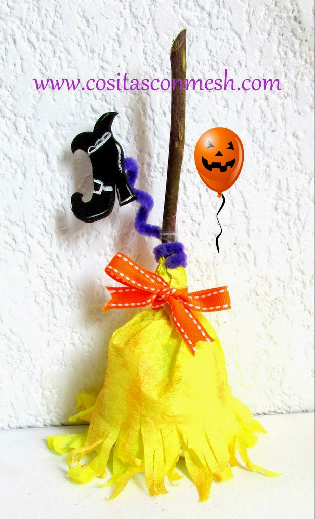 Dulcero halloween con papel crepe cositasconmesh for Manualidades con papel crepe