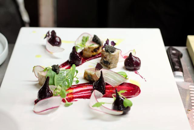 fish, sturgeon, beets, ginger, caviar, paddlefish, eating fabulously, chef