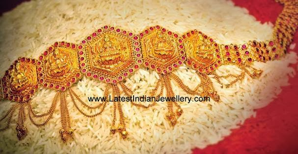 Latest Gold Vaddanam Design Rubies