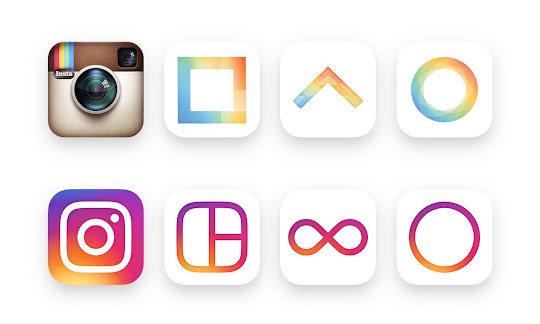 Instagram and connected apps logo evolution