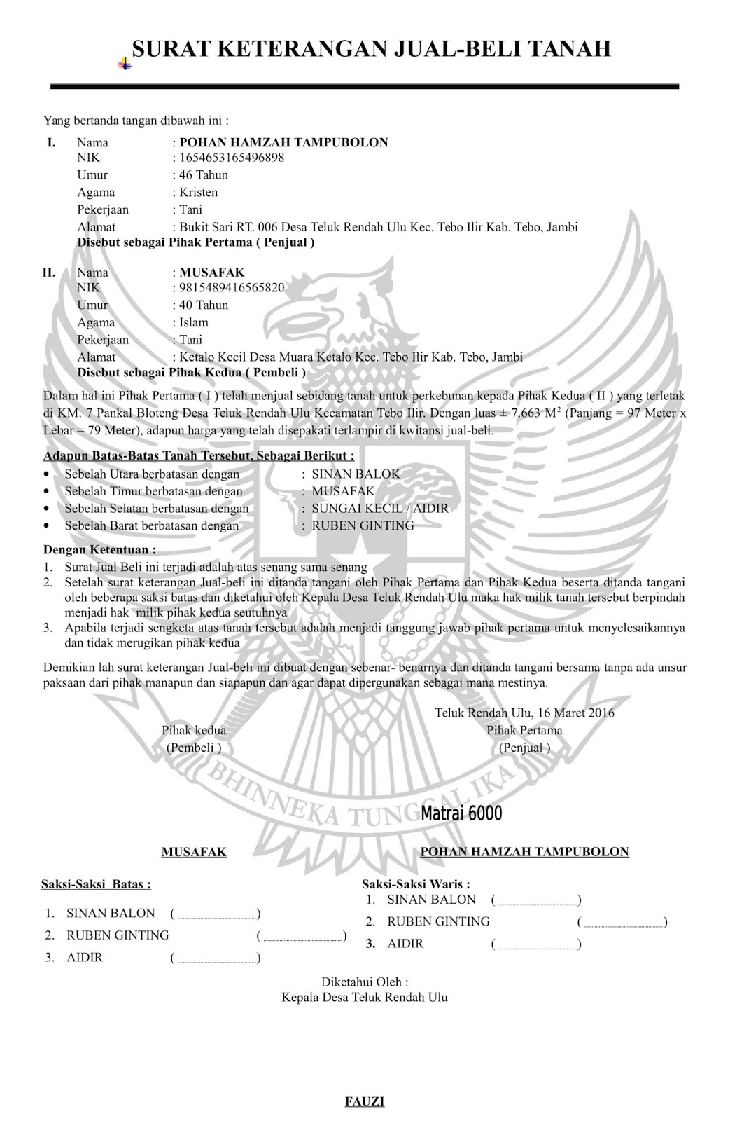 Contoh Surat Perjanjian Ganti Rugi Diatas Materai