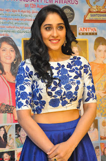 Regina Casandra in Stunning White Embroidery Crop Top Choli and Blue Ghagra at Santosham awards 2017 curtain raiser press meet 02.08.2017 043.JPG