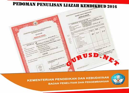 Petunjuk Pengisian Ijazah Tahun Pelajaran 2015/2016 dari Balitbangi Kemdikbud