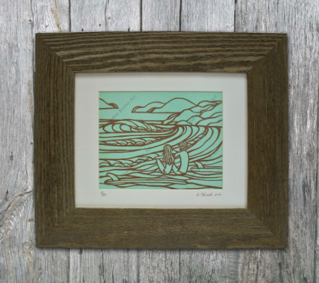ocean inspired linocut art heather brown