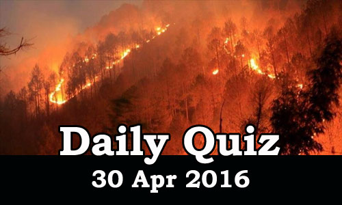 Daily Current Affairs Quiz - 30 Apr 2016