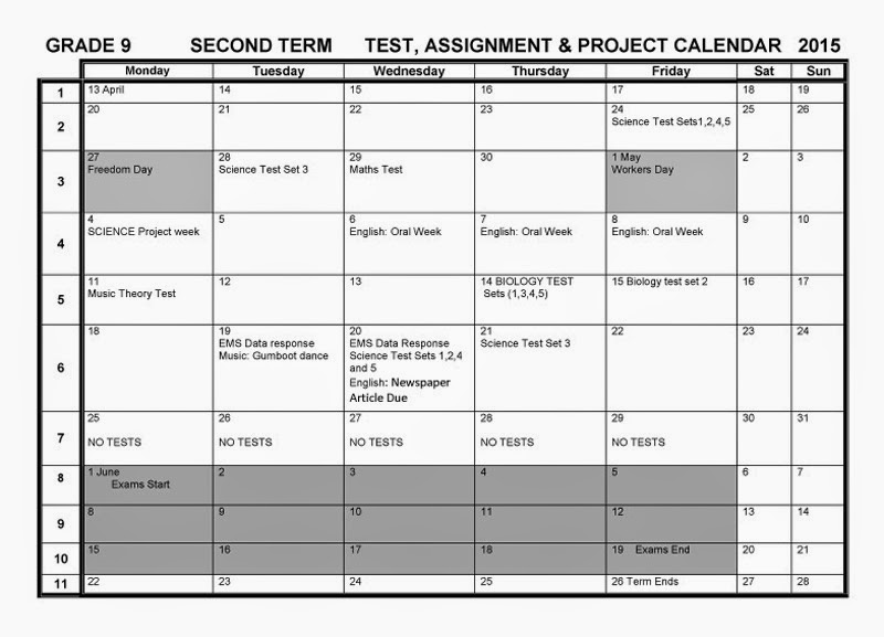 Camps Bay High School: CBHS Tests Projects & Assignments Term 2 - 17