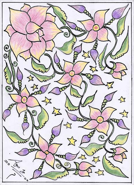 14. Gambar Batik Bunga Warna-Warni