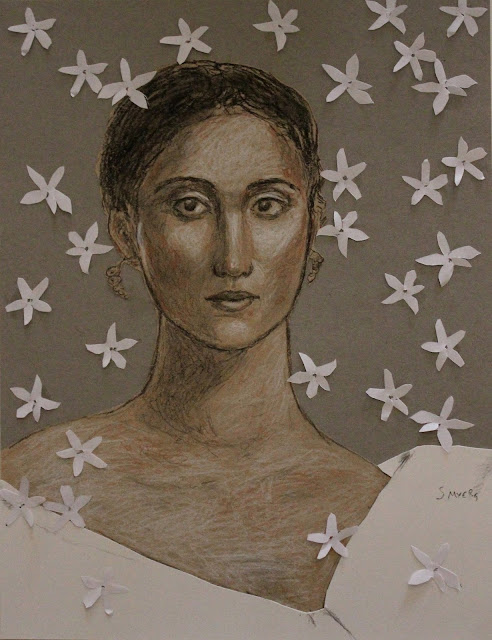 art, arte, drawing, sketch, woman, dibujo, jasmine, sarah, myers, collage, decoupe, paper-cut, cut, paper, charcoal, conte, portrait, kunst, retrato, face, head, flores, fashion, sketch, contemporary, modern, mixed, media
