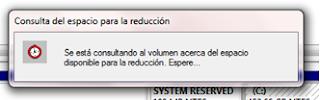Como crear o eliminar particiones en Windows 7 sin tener que formatear -http://3.bp.blogspot.com/-qFivBxyEwug/T0vIJy8x3JI/AAAAAAAAAA0/w5pG03mfhfI/s320/Consulta+de+espacio+para+la+reduccion.png