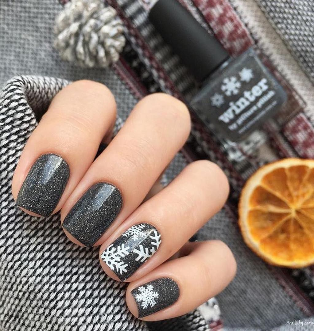trendy nail art idea for this winter
