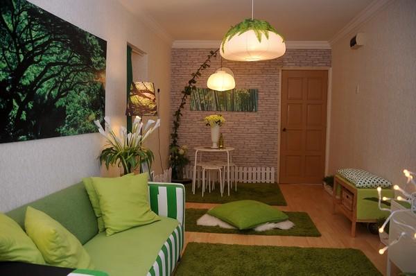 Trang trí phòng khách màu xanh lá cây Thiên đường của tôi