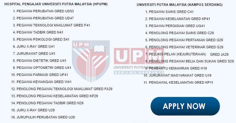 Jawatan Kosong di Hospital Pengajar HPUPM / Universiti Putra Malaysia
