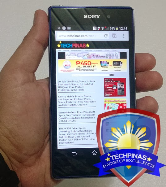 Sony Xperia Z1, TechPinas Badge of Excellence