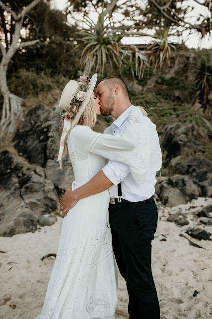 danielle webster photography vow renewal cabarita nsw florals wedding gown bride and groom bridal hairstyle boho spell bride