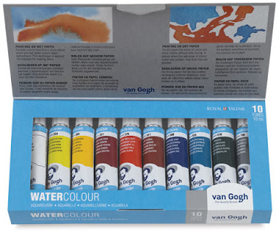 box of 10 tubes of Van Gogh brand watercolors