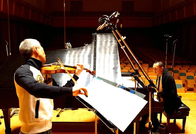 喜多直毅(violin)田中信正(piano)レコーディング風景