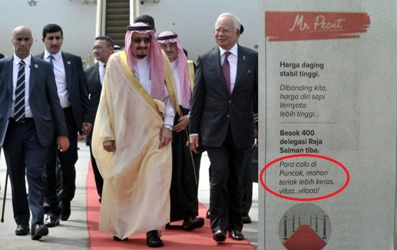 Mr Pecut lecehkan delegasi Raja Salman