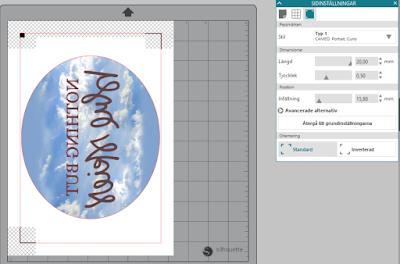 Silhouette Studio - Print and Cut inställningar för utskrivbar vinyl för ljusa textiler