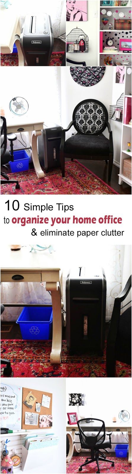 Paper piling up? Read these 10 simple tips to get your home office organized & eliminate paper clutter once and for all!