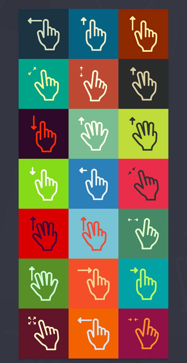Free Gestures Icons Set
