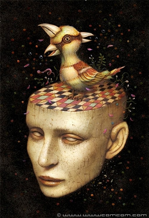 02-Bird-on-Stage-Naoto-Hattori-Dream-or-Nightmare-Surreal-Paintings-www-designstack-co
