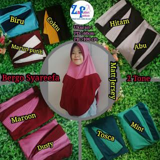 jilbab syar'i 2 tone bahan jersey murah