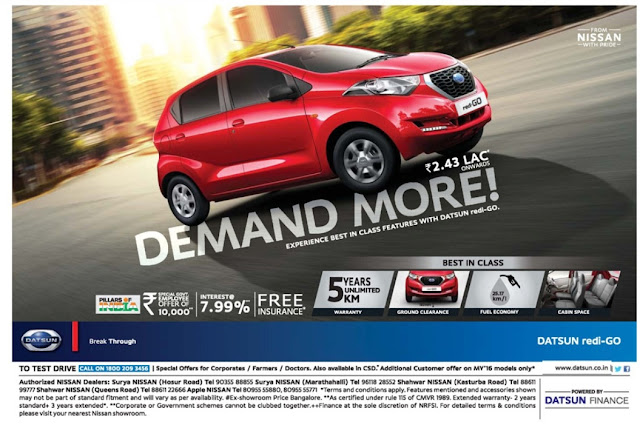 Nissan Redi Go amazing offers| February 2017 offers