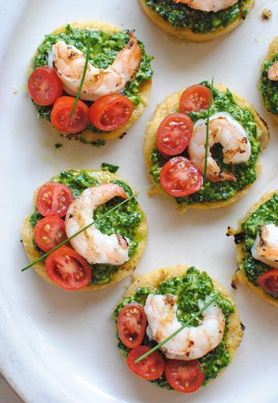 Polenta Bruschetta with Shrimp and Spinach Pesto is gourmet level snacking that's incredibly easy to make.