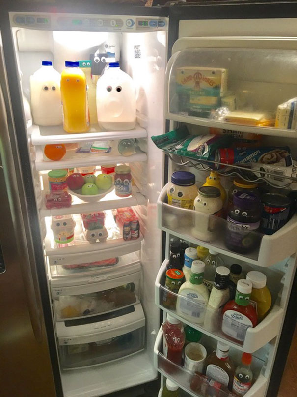 40 Photos Of The Most Hilarious Parents You Will Ever Meet - My Dad Put Googly Eyes On Everything In Our Refrigerator