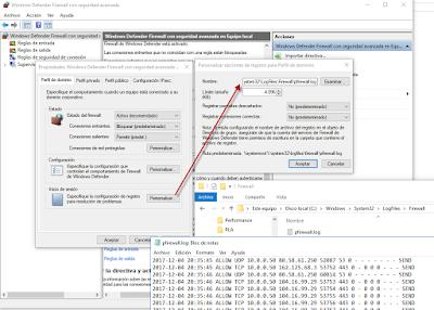 Estableciendo el path y opciones del registro de log del Firewall de Windows.