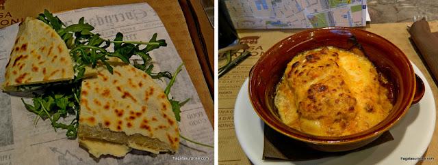 Comer em Ravena - piadina e lasanha servidas na Casa Spadoni