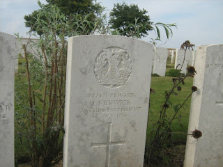 Gravestone of Private Joseph Fenwick (photo David D)
