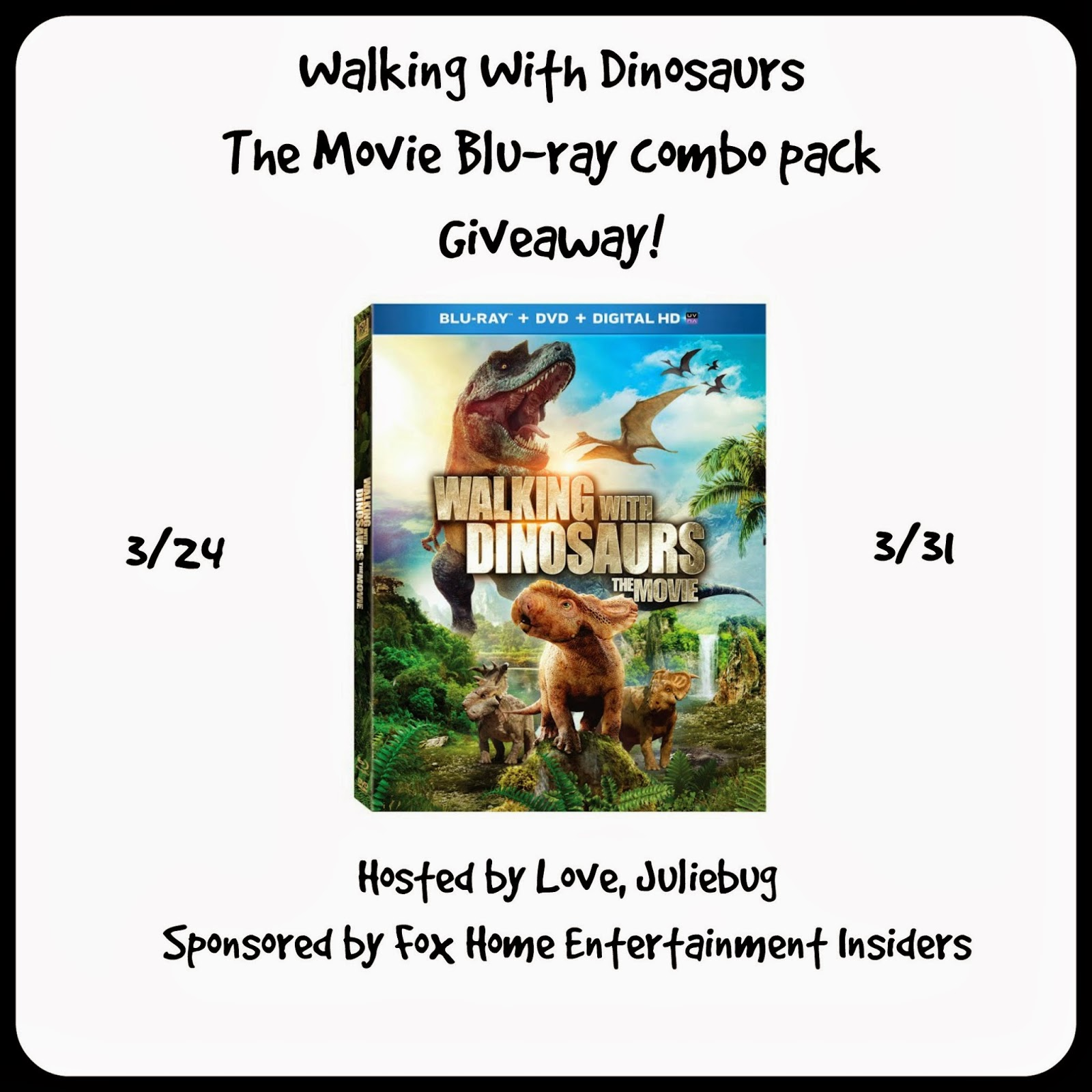 Enter the Walking with Dinosaurs Blu-ray Giveaway. Ends 3/31.