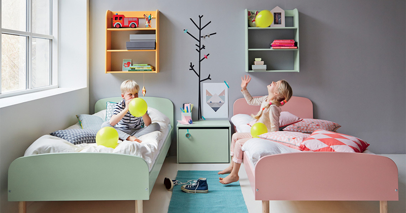 miętowe łóżeczko, duńskie łózka dla dzieci, skandynawskie łóżko dla dziecka