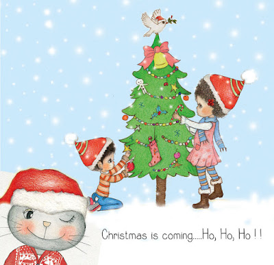 little curly, cat, christmas illustration, christmas tree, merry christmas